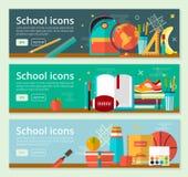 Vektor zurück zu Schulfahnen-Konzeptdesign Horizontale Fahnen der Bildung mit Schuleinzelteilen Lizenzfreies Stockbild