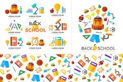 Vektor zurück zu Schulhintergrund mit Bildungsikonen Ausbildung Stockfoto
