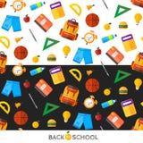 Vektor zurück zu Schulsatz des nahtlosen Musters Highschool objec Lizenzfreie Stockbilder