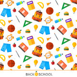 Vektor zurück zu Schulsatz des nahtlosen Musters Highschool objec Lizenzfreie Stockfotos