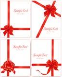 Vektorabbildung. Ansammlung rote Geschenkbögen Stockfotografie