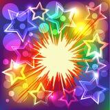 Vektorabbildung der bunten Sterne explodieren. Stockfoto