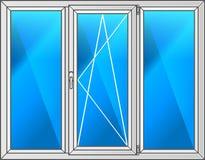 Vektorabbildung des Fensters mit schwarzem Feld Stockfotos
