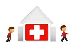 Vektorabbildung des medizinischen Hauses mit Patienten Stockbild