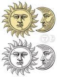 Vektorabbildung des Mondes und des Sun Lizenzfreie Stockbilder