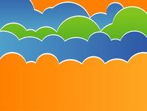 Vektorabbildung des stilisierten Himmels mit Wolken Stockfotografie