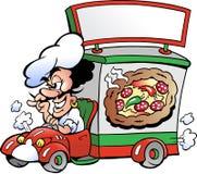 Vektorabbildung eines Pizza-Zustelldiensts Lizenzfreies Stockfoto