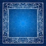 Vektorabbildung, ENV 8 Spitzeeinladungskarte Blaue Mandala Glühendes Feld Lizenzfreies Stockbild