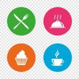 Vektorabbildung für Sie Auslegung Symbol des Muffinkleinen kuchens Gabel, Messer Lizenzfreies Stockbild