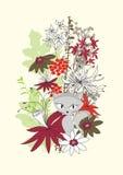 Vektorabbildung mit Blumen und Katze Stockfotografie