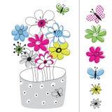 Vektorabbildung mit den Blumen gemalt Stockfotos
