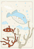 Vektorabbildung mit Fischen Stockfotos