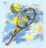 Vektorabbildung - Tennisschläger und -kugel Stockfoto