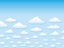 Vektorabbildungshimmel mit Wolken im Karikaturschweinestall Stockfotos