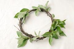 Vektorabbildungskala zu irgendeiner Größe Kranz gemacht von den roools, von den Blättern und von den Blumen auf Gewebeweißhinterg Stockfoto