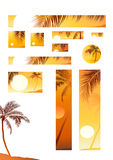 Vektorabbildungsonnenuntergang- und -kokosnußbaum Stockfotos