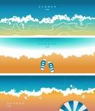 Vektorabdeckung für soziale Netzwerke, Titel mit einer Sommerstimmung, mit dem Bild des Meeres lizenzfreie abbildung