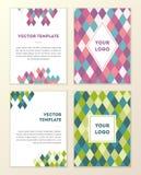 VektorAbdeckung Schablone Design mit buntem geometrischem dreieckigem Lizenzfreies Stockfoto