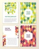 VektorAbdeckung Schablone Design mit buntem geometrischem dreieckigem Lizenzfreie Stockfotografie