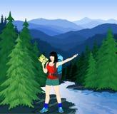 Vektorabend in den schönen Bergen mit Mädchen Lizenzfreies Stockfoto
