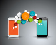 Vektorabstrakt begrepp cirklar den infographic mallen med telefoner Arkivfoto