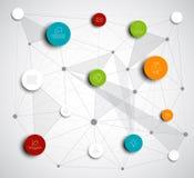 Vektorabstrakt begrepp cirklar den infographic nätverksmallen Royaltyfri Bild