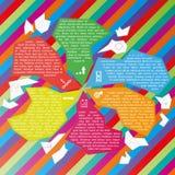 Vektorabstrakt begrepp fragmenterar den infographic mallen Arkivbild