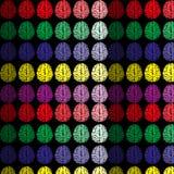 Vektorabstrakt begreppmodell med färgrika översiktshjärnor på svart bakgrund Arkivbilder