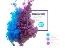 Vektorabstrakt begreppmoln Ink att virvla runt i vatten, moln av färgpulver i vatten på vit Abstrakta banermålarfärger Holi royaltyfri illustrationer