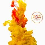 Vektorabstrakt begreppmoln Ink att virvla runt i vatten, moln av färgpulver i wa Royaltyfri Bild