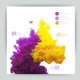 Vektorabstrakt begreppmoln Ink att virvla runt i vatten, moln av färgpulver i wa Arkivbilder