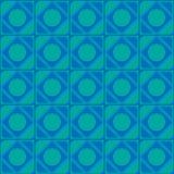 Vektorabstrakt begreppprydnaden av sömlös textur för blåa skuggor kvadrerar cirklar av hörn för rengöringsdukdesign och datordiag Royaltyfri Foto