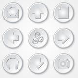 Vektorabstrakte weiße runde Papierikonenmultimedia Lizenzfreie Stockfotos