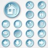 Vektorabstrakter blauer runder Papierikonensatz Lizenzfreie Stockfotos