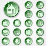 Vektorabstrakter grüner runder Papierikonensatz Lizenzfreies Stockbild