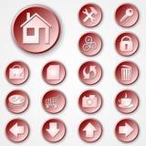 Vektorabstrakter roter runder Papierikonensatz Lizenzfreies Stockfoto