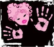 Vektorabstraktes rosafarbenes Mädchen Lizenzfreies Stockbild
