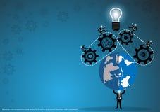 Vektoraffär för idéer och kreativitet i näringslivet med en världskarta, kugghjul och lampor, lägenhetdesign royaltyfri illustrationer