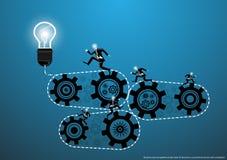 Vektoraffär för idéer och kreativitet i näringslivet med en världskarta, kugghjul och lampor, lägenhetdesign vektor illustrationer