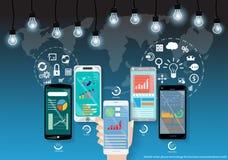 Vektoraffär genom att använda datateknik för att meddela med symbolerna för global affär sådan brukslägenhetdesign stock illustrationer