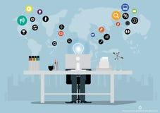 Vektoraffärsidéer genom att använda teknologi för att meddela globalt för att uppnå affärsframgång med olika symboler planlägger  stock illustrationer