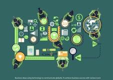 Vektoraffärsidéer genom att använda teknologi för att meddela globalt för att uppnå affärsframgång med olika symboler planlägger  vektor illustrationer