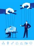 Vektoraffärsidéillustration Affärsman och chef en docka i händerna av andra stock illustrationer