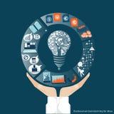 Vektoraffärskommunikationer handlar och samarbetar över hela världen i hand Arkivbilder