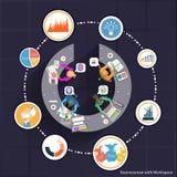 Vektoraffärskommunikationer handlar och samarbetar över hela världen i hand Arkivfoton