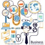 Vektoraffärskommunikationer marknadsför över hela världen Royaltyfri Bild