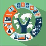 Vektoraffärskontakter runt om världen Arkivfoton