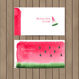 Vektoraffärskort med vattenfärgtexturen av vattenmelon stock illustrationer