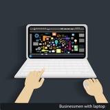Vektoraffärsmän med bärbara datorn Royaltyfri Bild