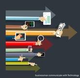 Vektoraffärsman Communicate med teknologi Fotografering för Bildbyråer